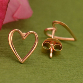 Rose Gold Heart Post Earrings in 18K Rose Gold Plate 9x8mm