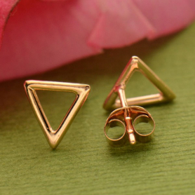 Rose Gold Stud Earrings - Triangle in 18K Rose Gold Plate