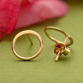 18K Rose Gold Plated Small Open Circle Post Earrings 10x10mm