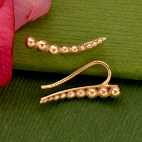 Rose Gold Ear Climbers - Granulation Pattern Rose Gold Plate