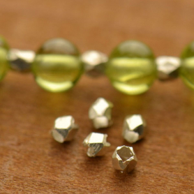Sterling Silver Spacer Beads - Small Faceted Bead