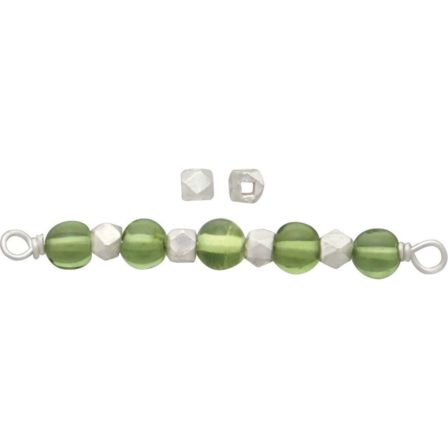 Sterling Silver Spacer Beads - Medium Faceted Bead