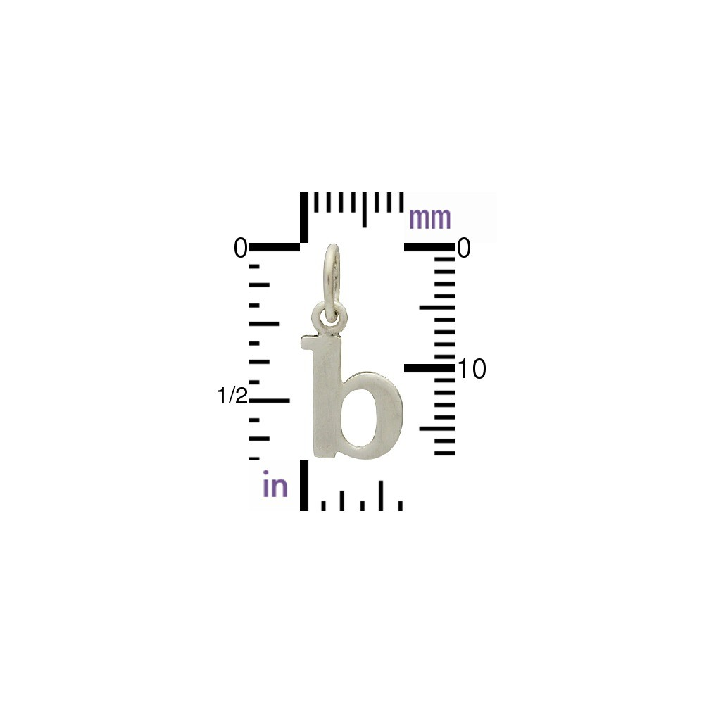 Sterling Silver Lowercase Typewriter Letter Charm B 17x7mm