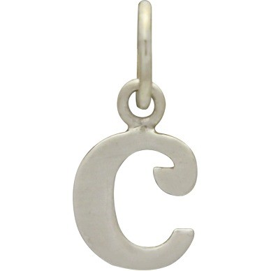 Sterling Silver Lowercase Typewriter Letter Charm C 15x7mm