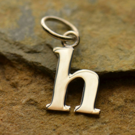 Sterling Silver Lowercase Typewriter Letter Charm H