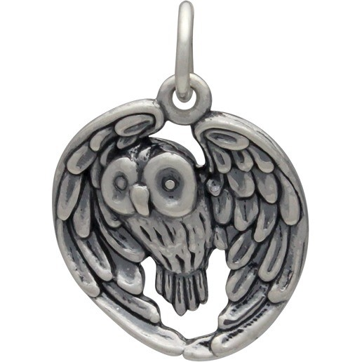 Sterling Silver Owl Pendant - Realistic 22x15mm