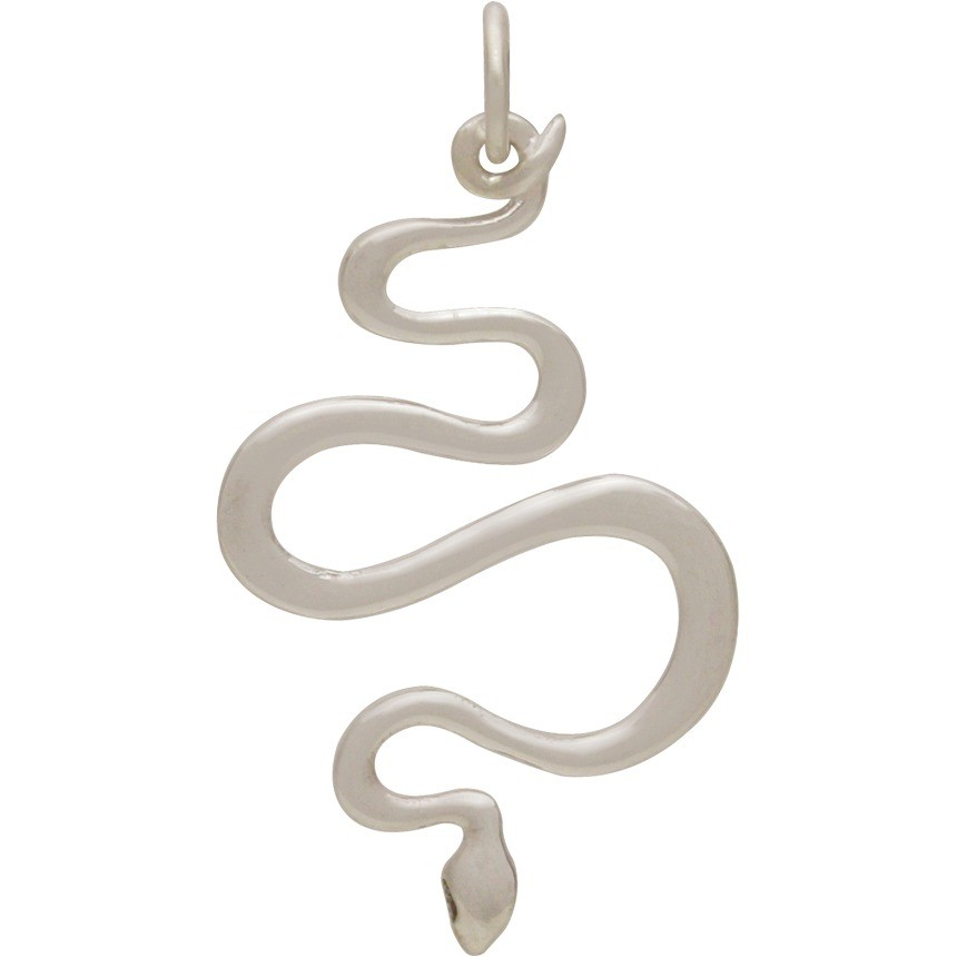 Sterling Silver Snake Pendant 37x20mm