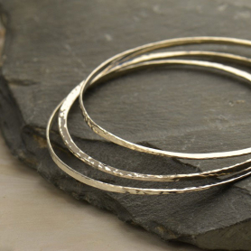 Sterling Silver Bangle Bracelet - Hammered Eclipse