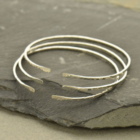 Sterling Silver Cuff Bracelet - Adjustable Hammered