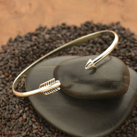 Sterling Silver Cuff Bracelet - Adjustable Arrow