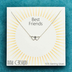 Sterling Silver Linked Heart Necklace 18 Inch