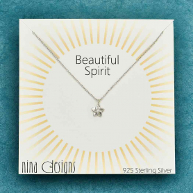 Sterling Silver Forget Me Not Necklace 18 Inch
