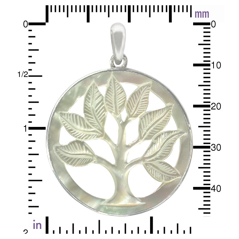 Hand Carved Mother of Pearl Pendant Tree of LifeDISCONTINUED