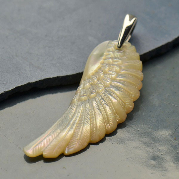 Mother Of Pearl Left Angel Wing Decor: Hand Carved Mother Of Pearl Pendant - Angel Wing