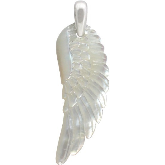 Hand Carved Mother of Pearl Pendant - Angel Wing 45x15mm