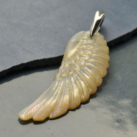 Hand Carved Mother of Pearl Pendant - Angel Wing