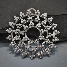 Sterling Silver Large Mandala Pendant 45x44mm