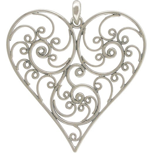Sterling Silver Balinese Filigree Heart Pendant 42x38mm