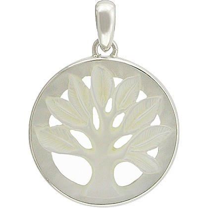 Tree of Life Pendant Carved Mother of Pearl DISCONTINUED