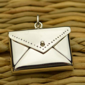 Sterling Silver Envelope Locket Pendant 19x18mm