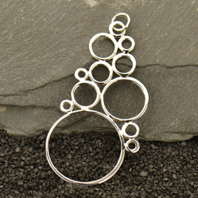Sterling Silver Bubble Pendant -Large Bubble Cluster 58x30mm