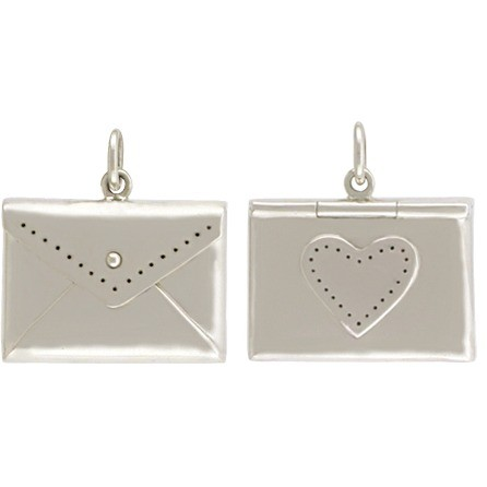 Sterling Silver Envelope Locket Pendant with Heart 19x18mm