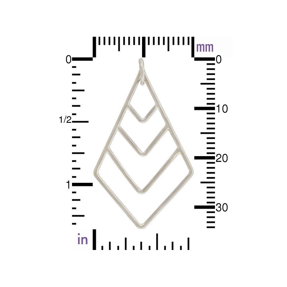 Sterling Silver Geometric Pendant - Graduated Chevron