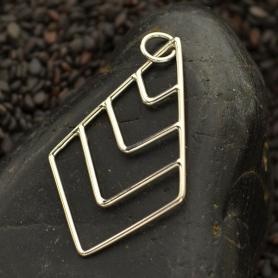 Sterling Silver Geometric Pendant - Graduated Chevron