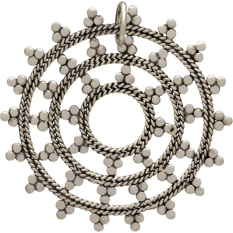 Sterling Silver Medium Mandala Pendant 34x32mm
