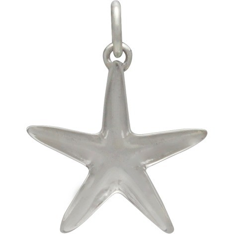 Sterling Silver Starfish Charm with Granulation 18x15mm