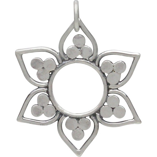Sterling Silver Lotus Pendant with Flat Granulation 26x20mm