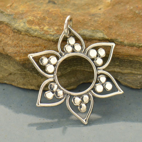Sterling Silver Lotus Pendant with Flat Granulation
