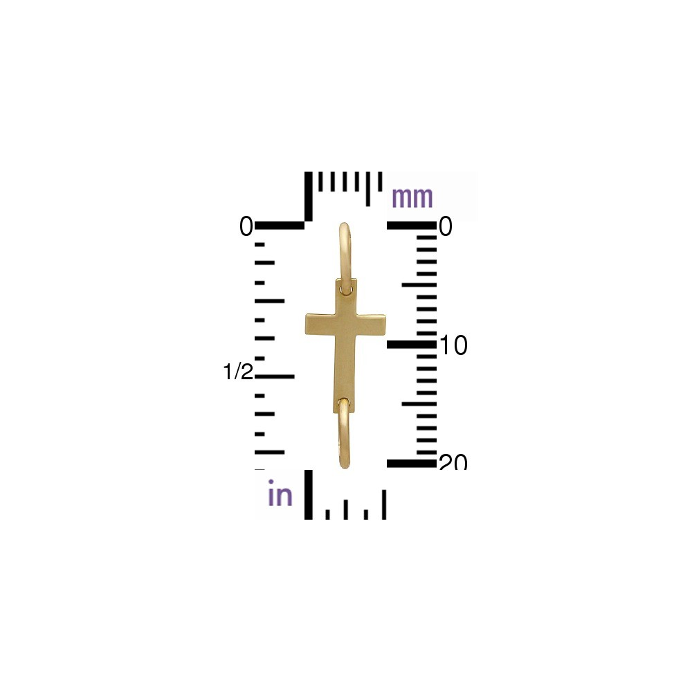 14K Gold Charm - Cross Link in Solid Gold