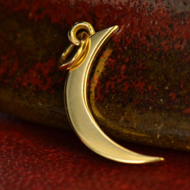 14K Gold Charm - Moon in Solid Gold 22x8mm