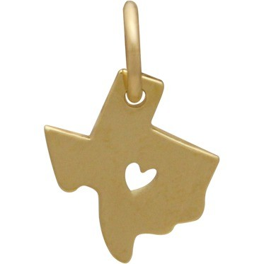 14K Gold Charm - Texas with Heart in Solid Gold