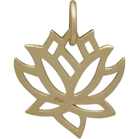 14k Gold Charm  -  Medium Lotus in Solid Gold 18x15mm