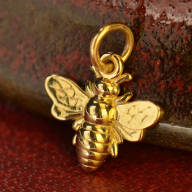 14K Gold Charm - Small Bee in Solid Gold
