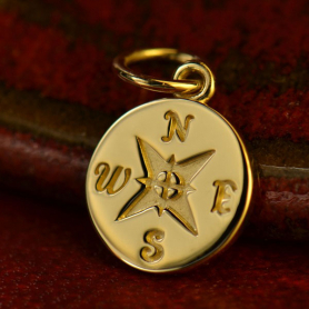 14K Solid Gold - Compass in Solid Gold -16mm