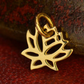 14K Gold Charms - Tiny Lotus in Solid Gold 12x9mm