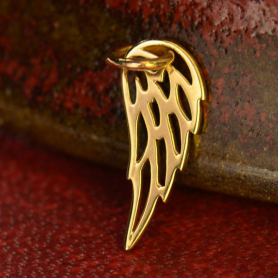 14K Gold Charms - Tiny Wing in Solid Gold 18x6mm
