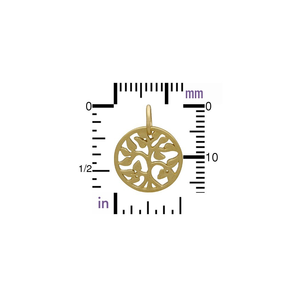 14K Gold Charms - Small Tree of Life in Solid Gold 17x13mm