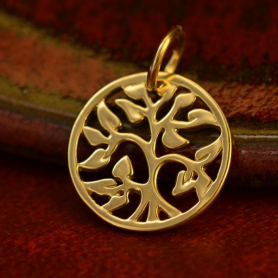 14K Gold Charms - Small Tree of Life in Solid Gold
