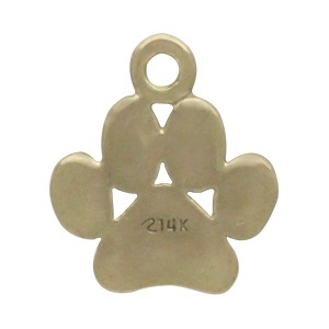 Solid 14K Gold - Paw Print Charm no Jumpring