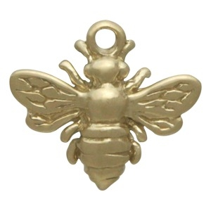 Solid 14K Gold - Small Bee Charm no Jumpring