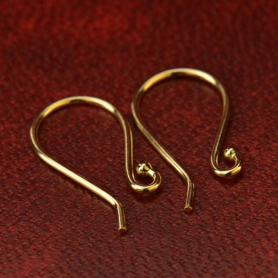 14K Gold Earring Top - Simple Ear Wire in Solid Gold