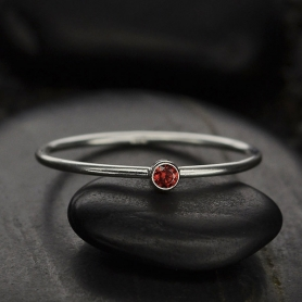 Sterling Silver Ring - Birthstone Ring - January