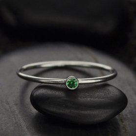 Sterling Silver Ring - Birthstone Ring - May