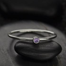 Sterling Silver Ring - Birthstone Ring - June