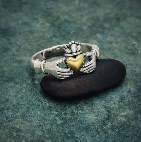 Sterling Silver Claddagh Ring with Bronze Heart