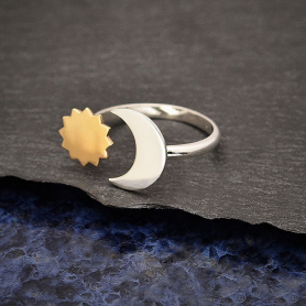 Mixed Metal Sun and Moon Adjustable Ring